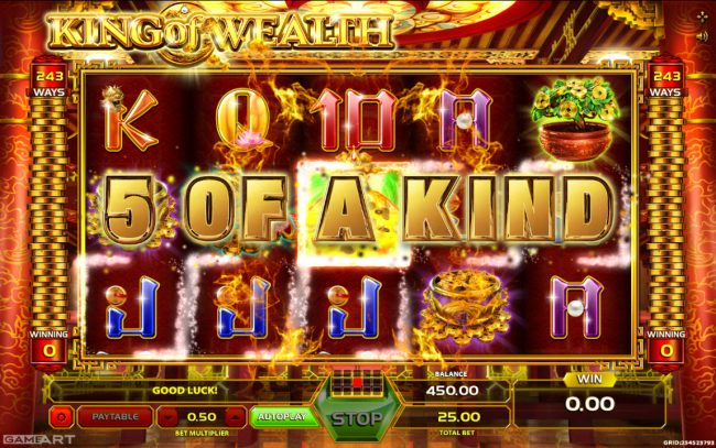 CryptoWild featuring the Video Slots King of Wealth with a maximum payout of $1,250