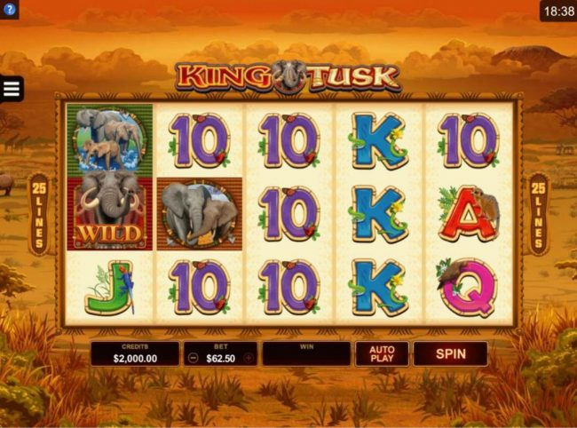 Argo featuring the Video Slots King Tusk with a maximum payout of $62,000