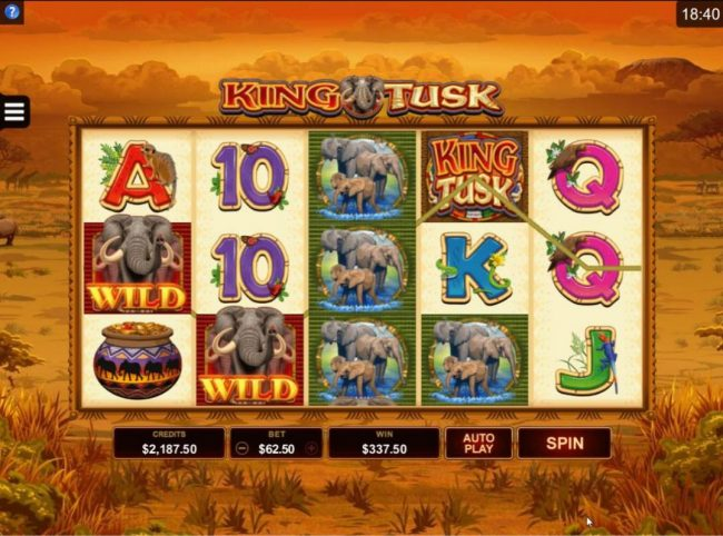 Maxino featuring the Video Slots King Tusk with a maximum payout of $62,000