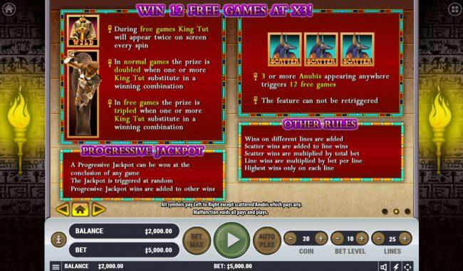 Play slots at Viggoslots: Viggoslots featuring the Video Slots King Tut's Tomb with a maximum payout of $2,500,000
