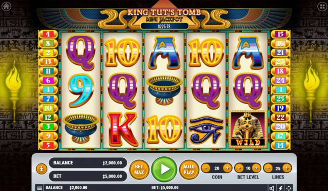 Play 24 Bet featuring the Video Slots King Tut's Tomb with a maximum payout of $2,500,000