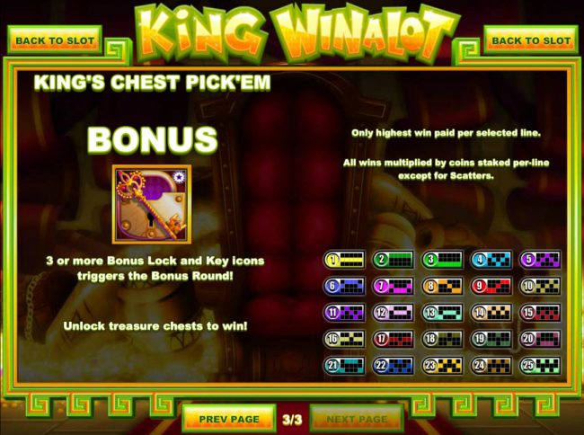 Black Lotus featuring the Video Slots King Winalot with a maximum payout of $12,500