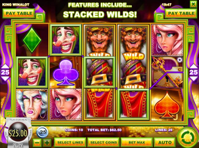 Laromere featuring the Video Slots King Winalot with a maximum payout of $12,500