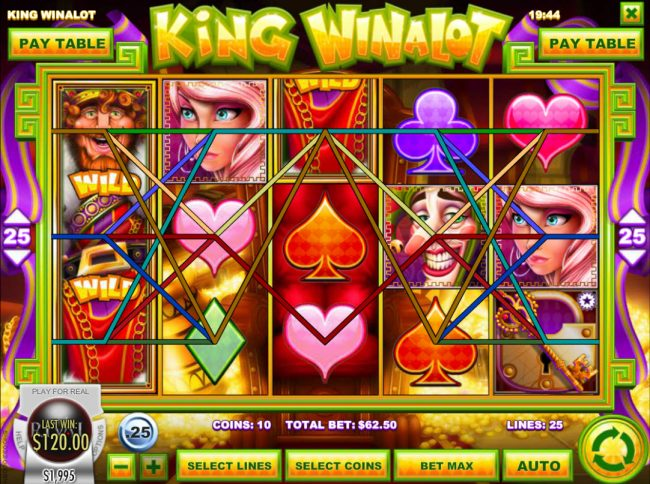 Euro Bets featuring the Video Slots King Winalot with a maximum payout of $12,500
