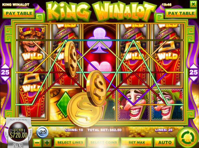 Vanguard featuring the Video Slots King Winalot with a maximum payout of $12,500