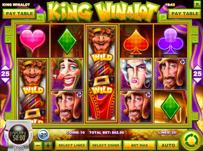 Mayan Fortune featuring the Video Slots King Winalot with a maximum payout of $12,500
