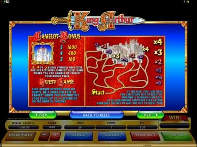 camelot bonus and quest game rules and paytable