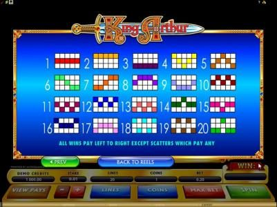 Casino Action featuring the Video Slots King Arthur with a maximum payout of $50,000