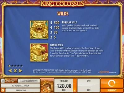Powerspins featuring the Video Slots King Colossus with a maximum payout of $60,000