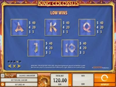 Joy Casino featuring the Video Slots King Colossus with a maximum payout of $60,000