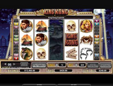 Vegas Winner featuring the Video Slots King Kong with a maximum payout of 150,000x