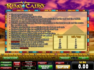 Casinoval featuring the Video Slots King of Cairo with a maximum payout of $1,250