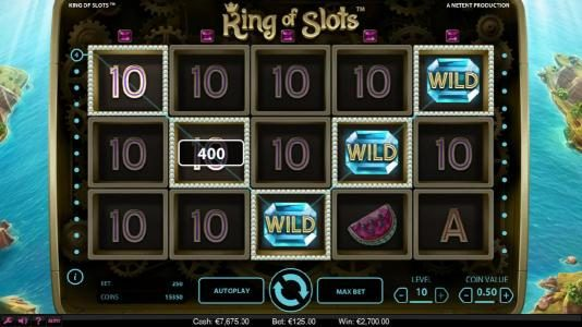 Touch Lucky featuring the Video Slots King of Slots with a maximum payout of $750,000