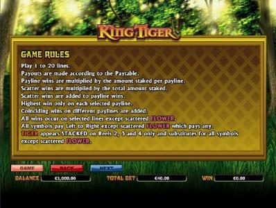My Win 24 featuring the Video Slots King Tiger with a maximum payout of $10,000