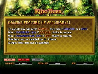 Dreamy 7 featuring the Video Slots King Tiger with a maximum payout of $10,000