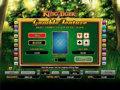 Sin Spins featuring the Video Slots King Tiger with a maximum payout of $10,000