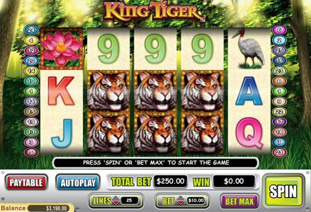 Liberty Slots featuring the Video Slots King Tiger with a maximum payout of $50,000