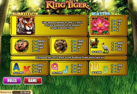 Play slots at Lincoln: Lincoln featuring the Video Slots King Tiger with a maximum payout of $50,000