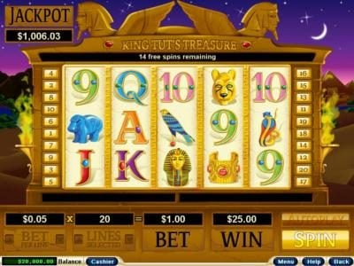 Casino Extreme featuring the video-Slots King Tut's Treasure with a maximum payout of 3,600x
