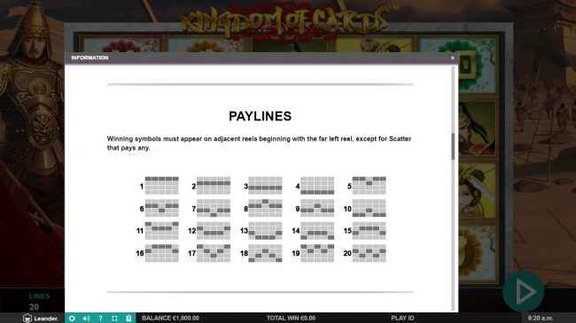 Casino Superlines featuring the Video Slots Kingdom of Cards with a maximum payout of $30,000