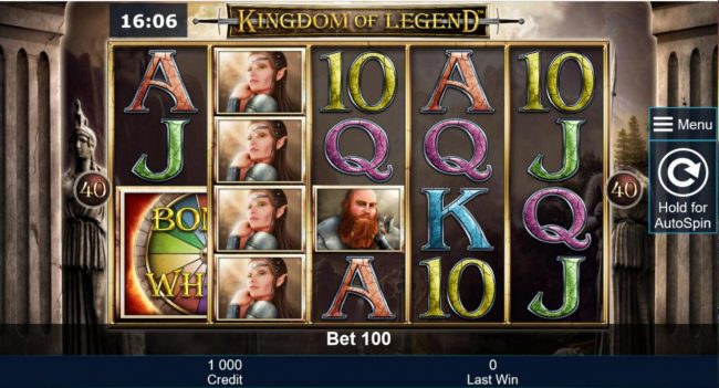 My Bet featuring the Video Slots Kingdom of Legend with a maximum payout of $5,000,000