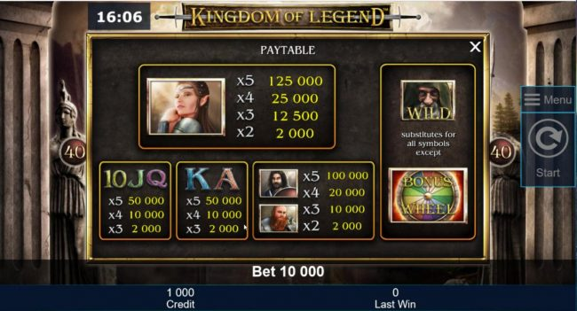 Slot game symbols paytable featuring mythical themed icons.