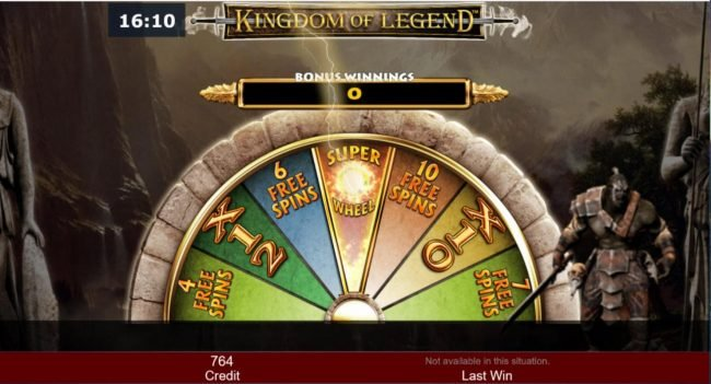 The first spin of the Bonus Wheel lands on the Super Wheel bonus feature.