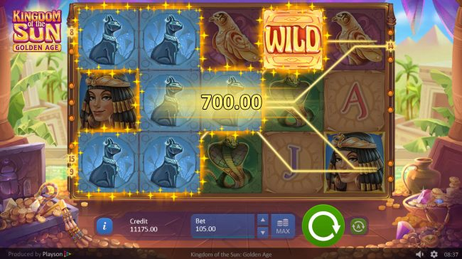 Spintropolis featuring the Video Slots Kingdom of the Sun Golden Age with a maximum payout of $52,500