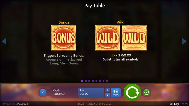 Mongoose Casino featuring the Video Slots Kingdom of the Sun Golden Age with a maximum payout of $52,500