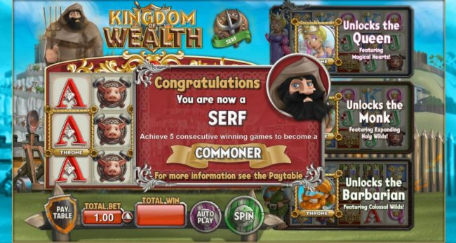 Wicked Jackpots featuring the Video Slots Kingdom of Wealth with a maximum payout of $500,000