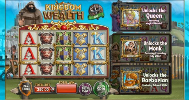Kingdom of Wealth :: Main game board featuring five reels and 30 paylines with a $500,000 max payout