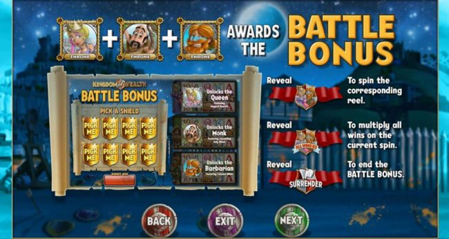 Kingdom of Wealth :: Battle Bonus Game Rules