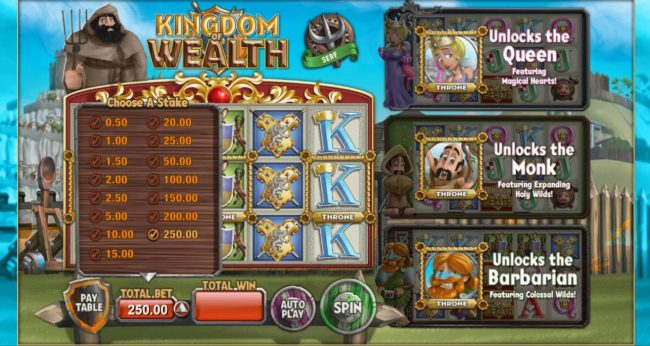 Norske Casino featuring the Video Slots Kingdom of Wealth with a maximum payout of $500,000