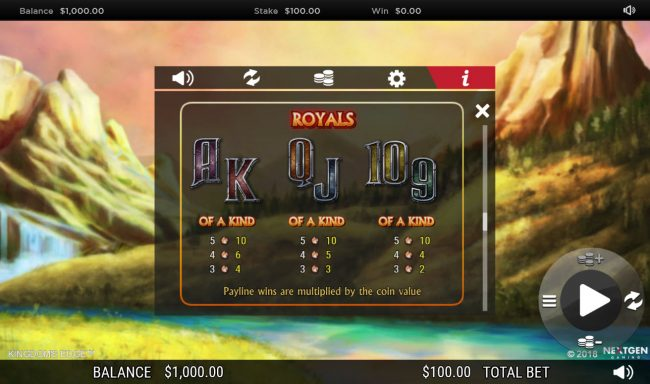 Jackpot Mobile featuring the Video Slots Kingdoms Edge 95 with a maximum payout of $30,000