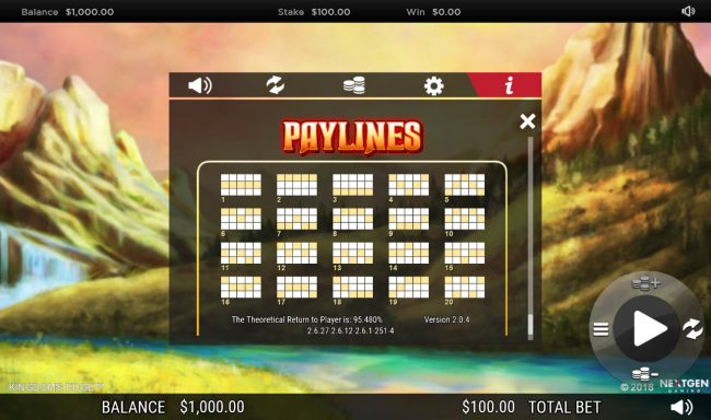 Fruity Casa featuring the Video Slots Kingdoms Edge 95 with a maximum payout of $30,000