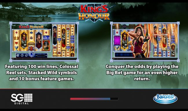 Play slots at CasinoCasino: CasinoCasino featuring the Video Slots King's Honour with a maximum payout of $250,000