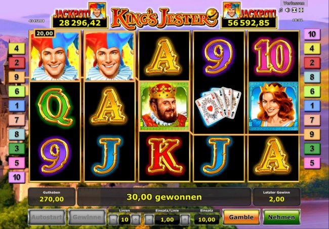 Winner Million featuring the Video Slots King's Jester with a maximum payout of $100,000