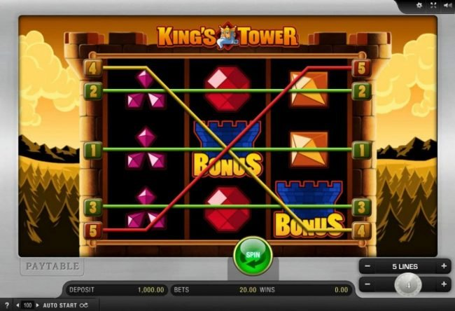Play slots at 888 Casino: 888 Casino featuring the Video Slots King's Tower with a maximum payout of $12,000