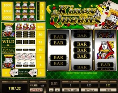 Casino States featuring the Video Slots Kings & Queens with a maximum payout of $30,000