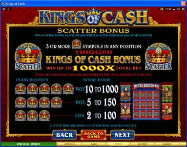 Golden Reef featuring the Video Slots Kings of Cash with a maximum payout of $500,000