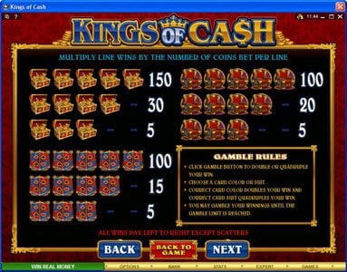 Crazy vegas featuring the Video Slots Kings of Cash with a maximum payout of $500,000