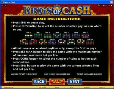 Casino Mate featuring the Video Slots Kings of Cash with a maximum payout of $500,000