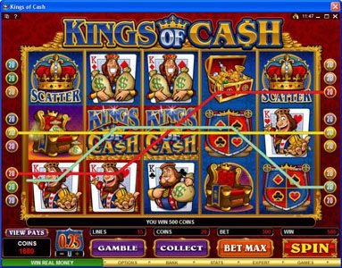 Euro Slots featuring the Video Slots Kings of Cash with a maximum payout of $500,000