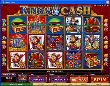 Maxino featuring the Video Slots Kings of Cash with a maximum payout of $500,000
