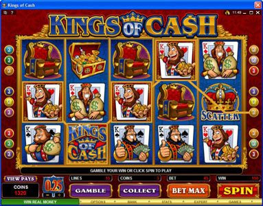 Vegas Joker featuring the Video Slots Kings of Cash with a maximum payout of $500,000