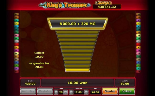 Gamble feature is available after every winning spin. Click the gamble button for a chance to increase your winnings, your odds are 50/50