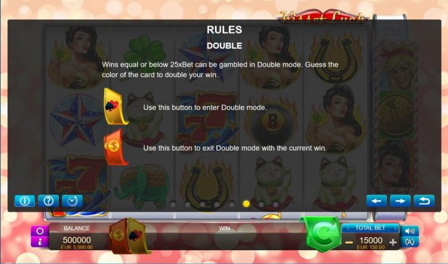 Kiss of Luck :: Double Up Gamble Feature Rules