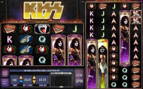 KISS Shout It Loud :: main game board featuring five reels and 100 paylines.
