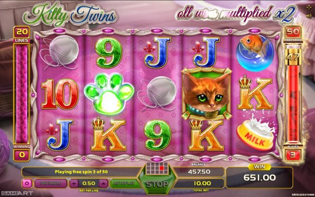 NordiCasino featuring the Video Slots Kitty Twins with a maximum payout of $500