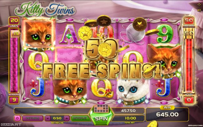 Jellybean Casino featuring the Video Slots Kitty Twins with a maximum payout of $500